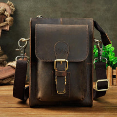 Vintage Leather Mens Belt Pouch Waist Bags BELT BAG Small Shoulder Bag For Men