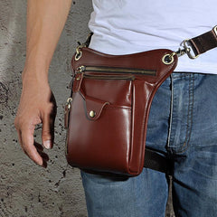 Cool Leather Mens Belt Pouch Phone Waist Bag BELT BAG Small Side Bag For Men