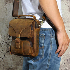 Small Leather Handbag Belt Pouch Waist Bag Small Vertical Side Bag For Men