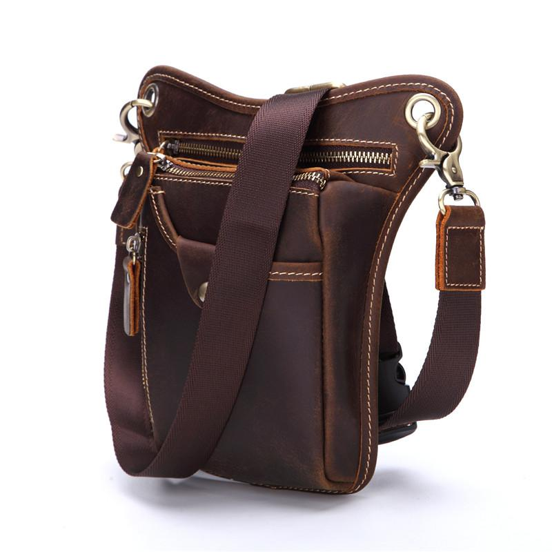 Cool Leather Mens BELT BAG Belt Pouch Waist Bag Small Side Bag For Men