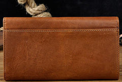 Cool Brown Mens Leather Long Wallet Trifold Brown Long Wallet for Men