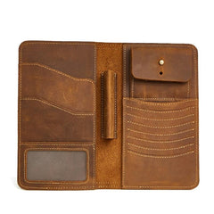 Leather Long Wallet for Men Vintage Bifold Wallet Passport Travel Wallet