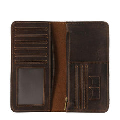 Cool Mens Coffee Leather Long Wallet Vintage Bifold Long Wallet for Men