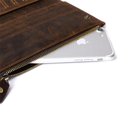 Leather Long wallet for Men Wallet Vintage Zipper Bifold Long Wallet for Men