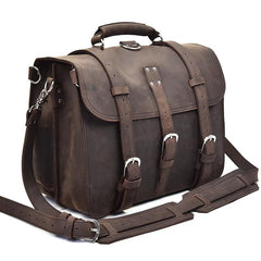 Vintage Leather Men Large Briefcase Overnight Bag Travel Bag Messenger Bag For Men
