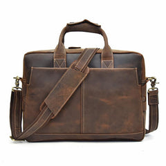 Leather Men Vintage 14'' Briefcase Handbag Professional Shoulder Bag Work Bag For Men