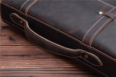 Leather Vintage Mens Briefcase 12inch Laptop Briefcase Professional Handbag For Men