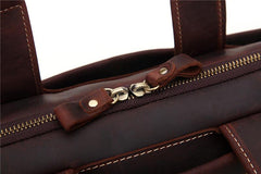 Vintage Leather Mens Professional Briefcase Brown Laptop Briefcase For Men