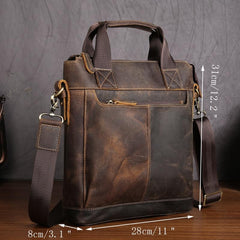 Vintage Leather Men Vertical Briefcases Small Brown Professional Handbag Briefcase For Men