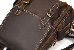 Leather Mens Cool Backpack Large Coffee Travel Backpack 13inch Laptop Backpack For Men