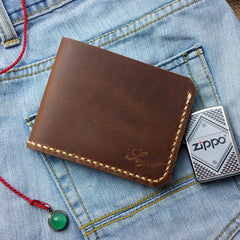 Leather Mens Slim Front Pocket Bifold Brown Small Wallets Card Wallet for Men