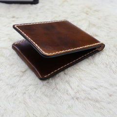 Leather Mens Slim Front Pocket Bifold Small Wallets License Wallet for Men