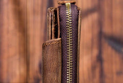 Brown Leather Mens Small Wallet Bifold billfold Zipper Bifold Wallet for Men