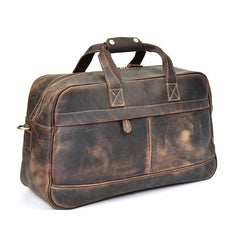 Leather Vintage Mens Coffee Weekender Bag Overnight Bag Duffle Bag for Men