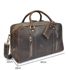 Vintage Leather Mens Large Overnight Bag Weekender Bag Vintage Travel Bagfor Men