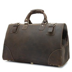 Vintage Leather Mens Large Overnight Bag Weekender Bag Travel Bag Duffle Bag for Men
