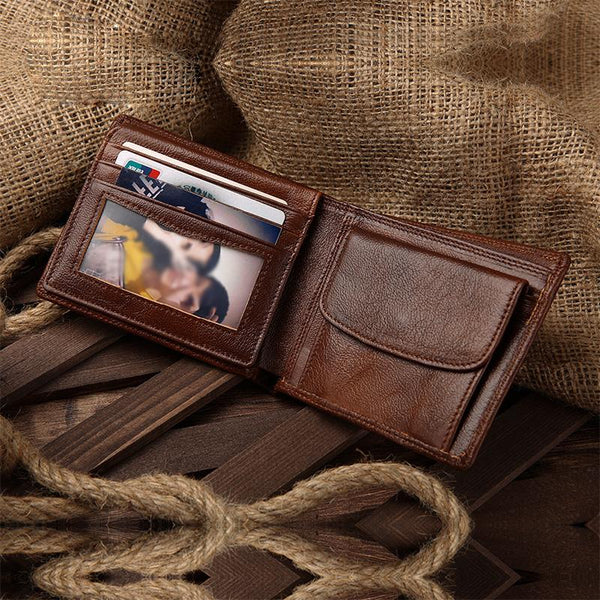 Brown Mens Leather Slim Small Wallet Bifold Short Wallet for Men