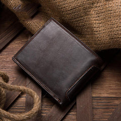 Brown Mens Leather Slim Small Wallet Bifold billfold Wallet for Men