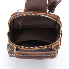 Leather Sling Bag for Men Vintage One Shoulder Backpack Crossbody Sling Bag For Men