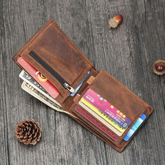 Vintage Brown Mens Leather Small Wallet Trifold billfold Wallet for Men