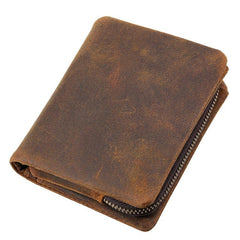 Vintage Brown Mens Leather Small Wallet billfold Bifold Wallet for Men