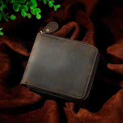 Cool Brown Leather Mens Bifold Small Wallet Zipper billfold Wallet for Men