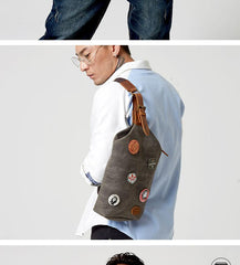 Waxed Canvas Sling Backpack Men's Sling Bag Navy Blue Chest Bag Waxed Canvas One shoulder Backpack For Men