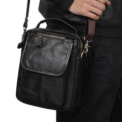 Men Leather Black Small Handbag Vertical Messenger Bag Side bag For Men