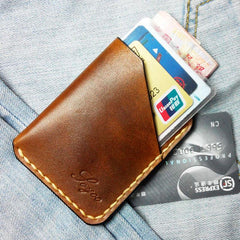 Mens Brown Leather Slim Front Pocket Wallets Leather Cards Wallet for Men