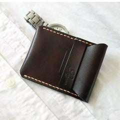 Mens Coffee Leather Slim Front Pocket Wallets Leather Cards Wallet for Men
