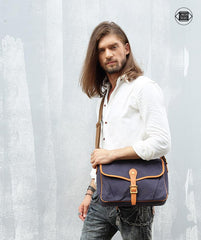 Casual Canvas Leather Mens Side Bag Side Bag Small Messenger Bags Casual Courier Bags for Men