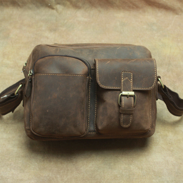edccf25bc146 Handmade Leather Mens Cool Small Messenger Bag iPad Bag Chest Bag Bike Bag  Cycling Bag for