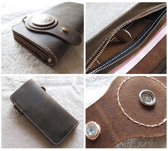 [On Sale] Handmade Mens Long Biker Wallet with Chain Cool Leather Biker Chain Wallet