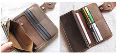 [On Sale] Handmade Mens Long Biker Wallet with Chain Cool Leather Biker Chain Wallets