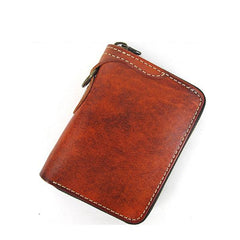 [On Sale] Handmade Mens Leather Biker Chain Wallet Cool Small Biker Wallet with Zippers
