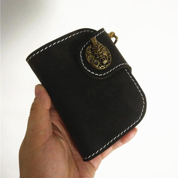 [On Sale] Handmade Mens Leather Small Biker Chain Wallets Cool billfold Biker Wallets with Chain