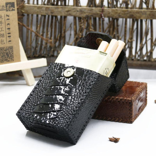 Cool Handmade Leather Mens Black Floral Cigarette Holder Case for Men