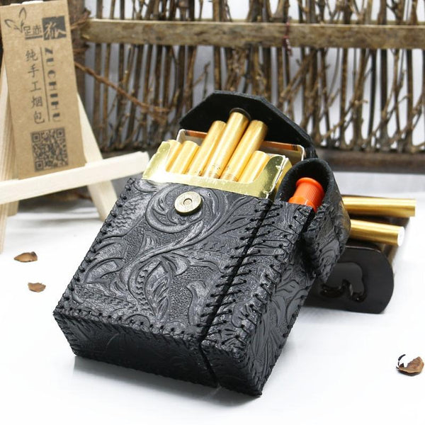 Cool Handmade Leather Mens Engraved Floral Cigarette Holder Case with Lighter holder for Men