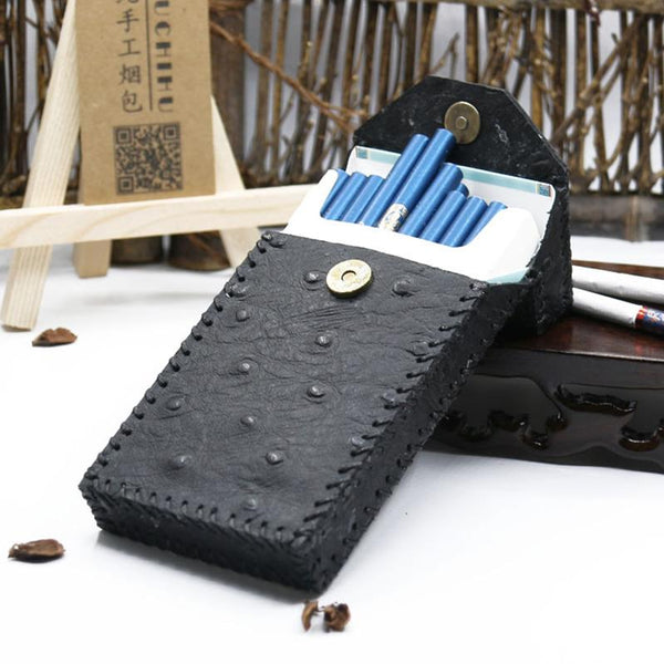 Handmade Leather Black Womens Cigarette Holder Case Cigarette Holder for Women