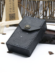 Cool Cigarette Holder Handmade Leather Mens Black Cigarette Holder Cases for Men