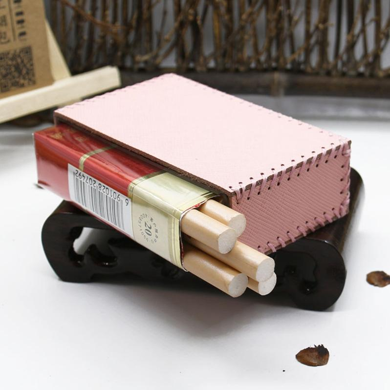 Cute Handmade Leather Womens Pink Cigarette Holder Case for Women