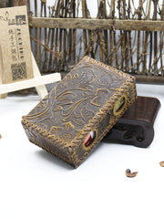 Cool Cigarette Holder Handmade Leather Mens Coffee Floral Cigarette Holder Cases for Men