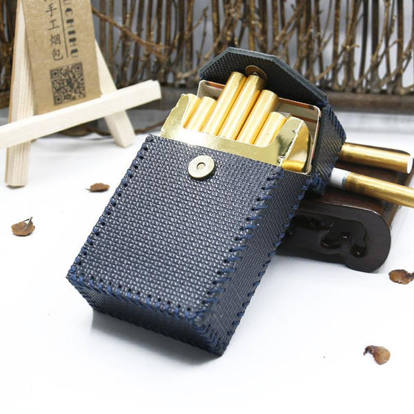 Cool Cigarette Holder Handmade Leather Mens Dark Blue Cigarette Holder Cases for Men