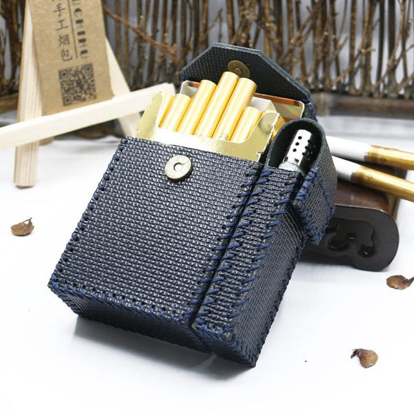 Cool Handmade Leather Mens Dark Blue Cigarette Holder Case with Lighter holder for Men