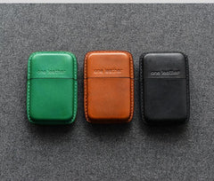 Handmade Green Leather Mens 11pcs Cigarette Holder Case Cool Custom Cigarette Case for Men