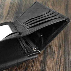Black Leather Men's Small Biker Wallet Chain Wallet Short Bifold Wallet with Chain Coin Purse For Men