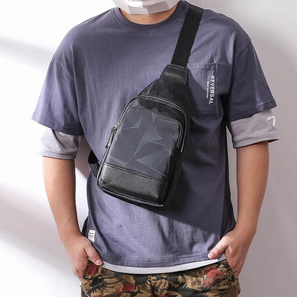 Cool Black Blue Nylon Men's Sling Bag Waterproof Chest Bag Canvas One shoulder Backpack Sling Pack For Men