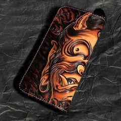 Badass Black Leather Men's Clutch Wallet Buddha Handmade Tooled Zipper Long Wallets For Men