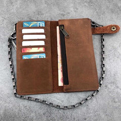 Vintage Brown Leather Men's Long Biker Chain Wallet Brown Badass Bifold Long Wallet with Chain For Men