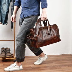 Black Leather Mens Casual Large Travel Bags Shoulder Weekender Bag Brown Duffle Bag For Men
